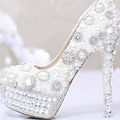 2017 White Pearls Crystal Luxury Wedding Bridal Dress Shoes Closed Toe Prom Pumps Shoes Wedding Outfit