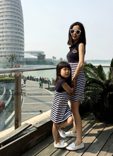 Family fashion summer one-piece dress blue and white stripe bbsue wind the sailor adult female child Women bs14