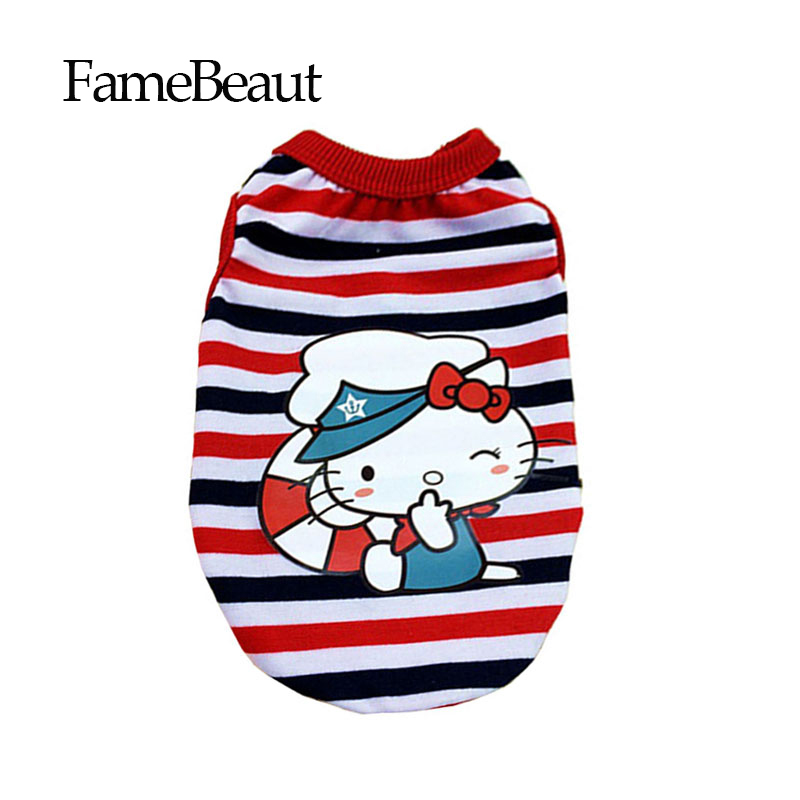 FameBeaut Casual Fashion Dog Clothes Puppy Summer Cotton Vest Striped Cartoon Popeye HELLO kitty Two Styles For Puppies(China (Mainland))