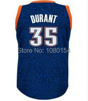 Лучший оклахома-сити 35 кевин дюрант баскетбол кофта синий белый-камо 100% прошитой баскетбол джерси футболка возврат кофта
