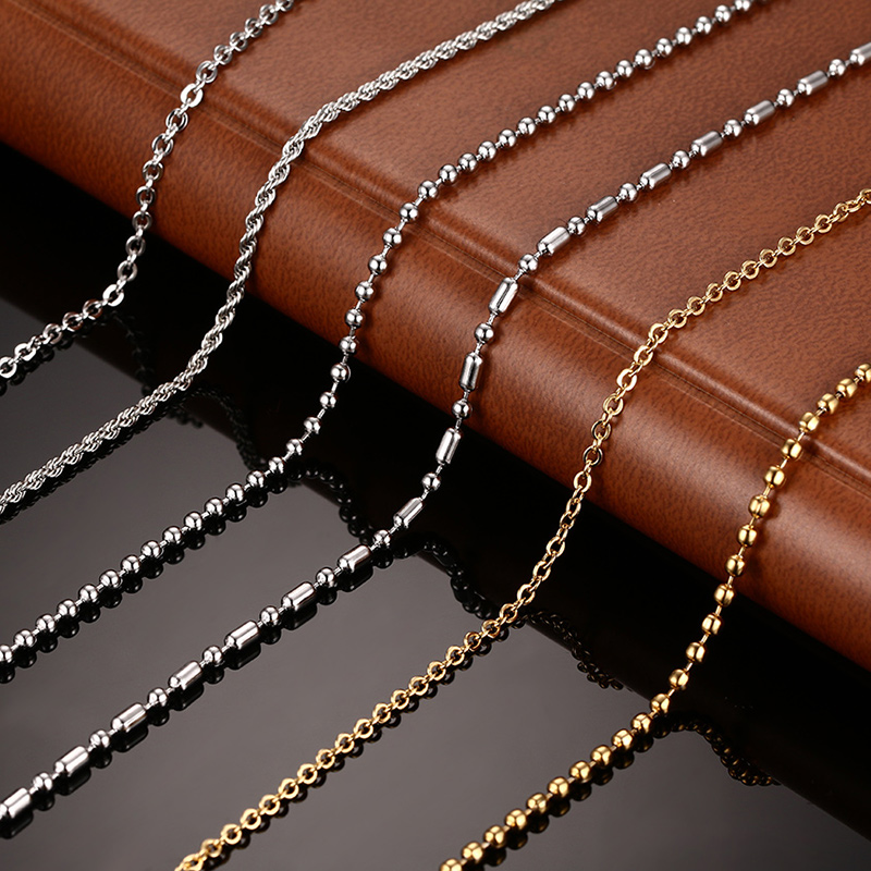 Promotion DIY Chain Necklace Stainless Steel Women Men Jewelry Snake Round Beads Chains For Pendant Accessories NC-087(China (Mainland))