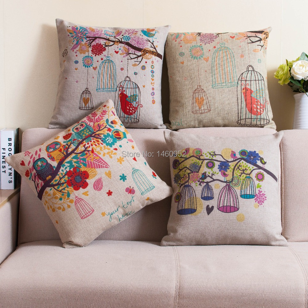 Almofada decorative owl pillows printed bird flower - Telas para cojines de sofa ...