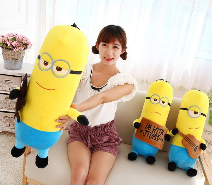 Yellow Large Minion Doll Plush Stuffed Toys For Children Birthday Gift Big Size 22inch/55cm Minions 3D Despicable Me Eyes(China (Mainland))
