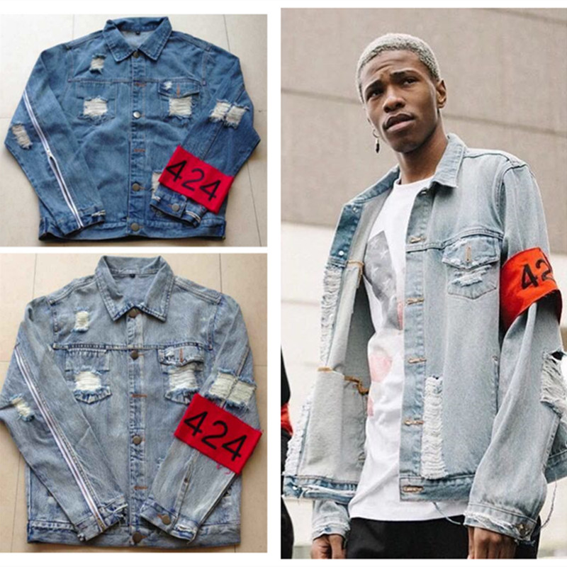 hiphop men's clothes brand clothing fear of god Four Two Four 424 spring summer broken hole jeans designer ripped denim jacket(China (Mainland))