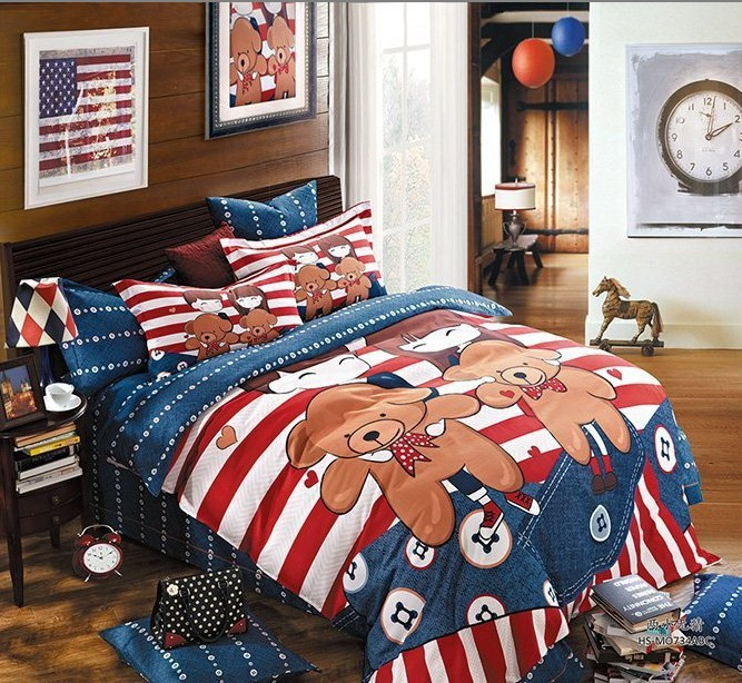 kids teddy bear bedding set cute queen size cartoon duvet. Black Bedroom Furniture Sets. Home Design Ideas