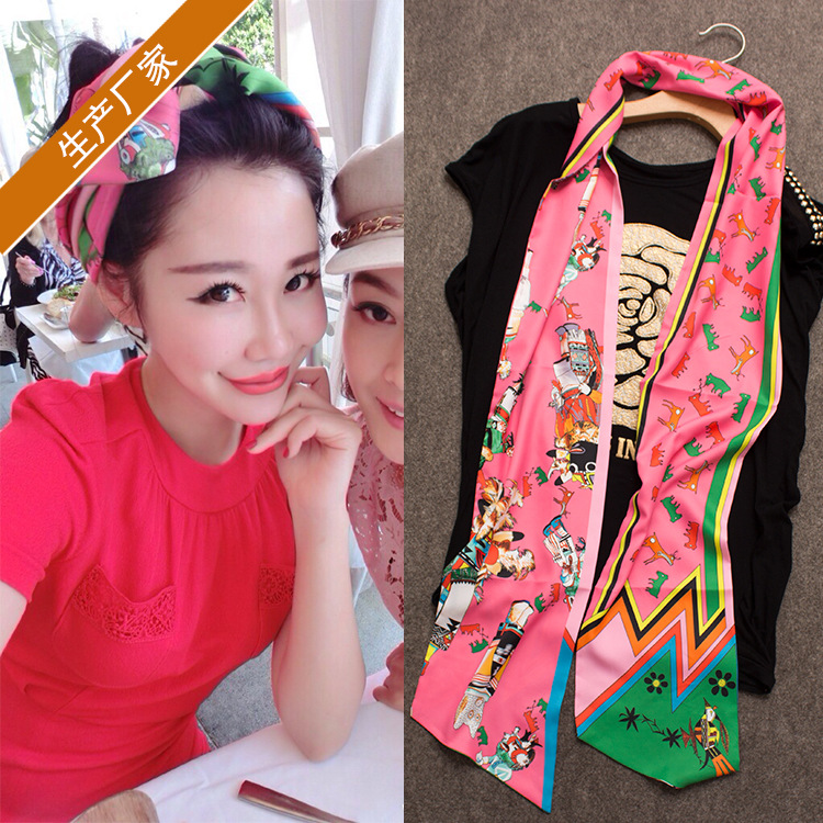 Silk scarf silk With A tie female long summer girls hair bows clips ribbon fascinator headbands for women turban cheerleading(China (Mainland))