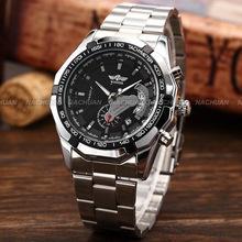Marca de fábrica famosa ganador relojes automáticos hombres de lujo relojes mecánicos moda marca para hombre Relogio Masculino blanco y negro