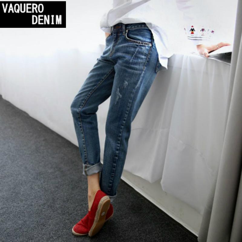 Boyfriend Jeans For Women 2015 Hot Sale Vintage Distressed Regular Spandex Ripped Denim Harem Pants Woman Jeans Plus Size 16815