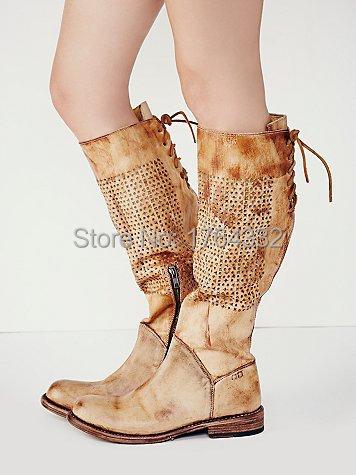 2016 новый стиль Vintage Тан кожа проблемных высокий ботинок с более темными краями,Штабелироваться деревянный каблук ботфорты низкий каблук босоножки сапоги