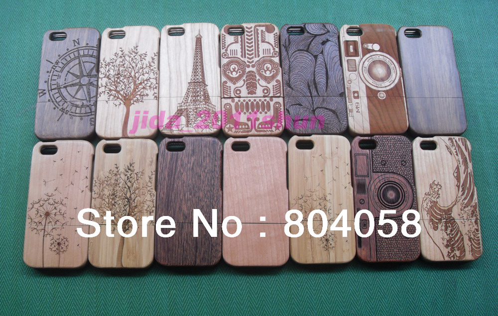 Free shipping Fashion Carved Design Genuine Real Wood Wooden Bamboo Case for iPhone 5C(China (Mainland))