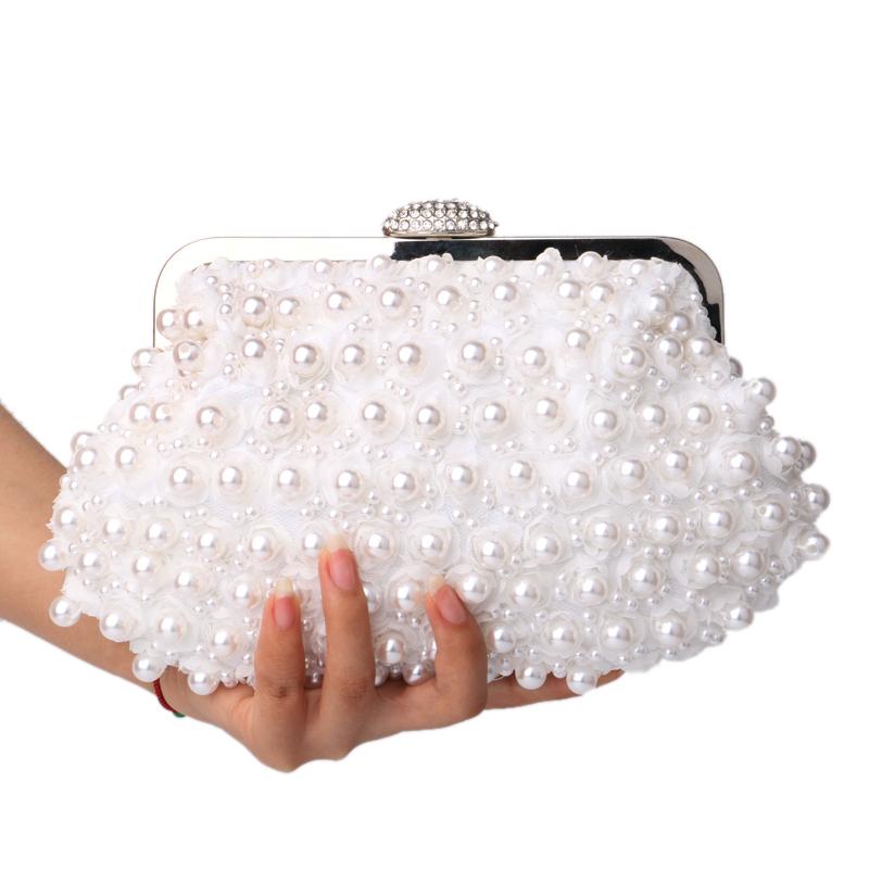 Clutch women bags beaded evening bags pearl evening bags shell shaped wedding bridal evening dress purse