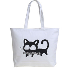 Cute Cat Animal Pattern Printed Large Capacity Canvas Material Casual Totes Shoulder Bags Lovely Hangbag Women Men Leisure Bags