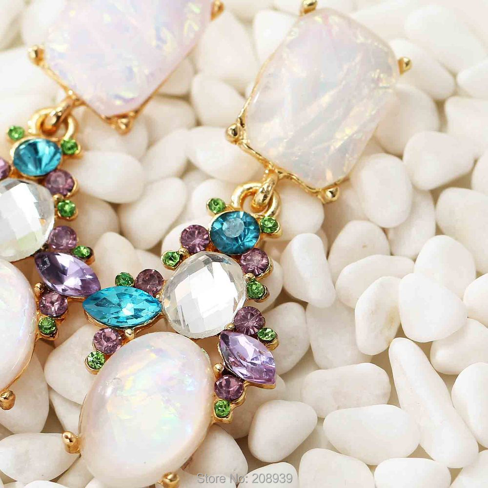 NEW Women's fashion earrings New arrival brand sweet metal with gems stud crystal/Glass/Resin hoop big earring for women girls(China (Mainland))