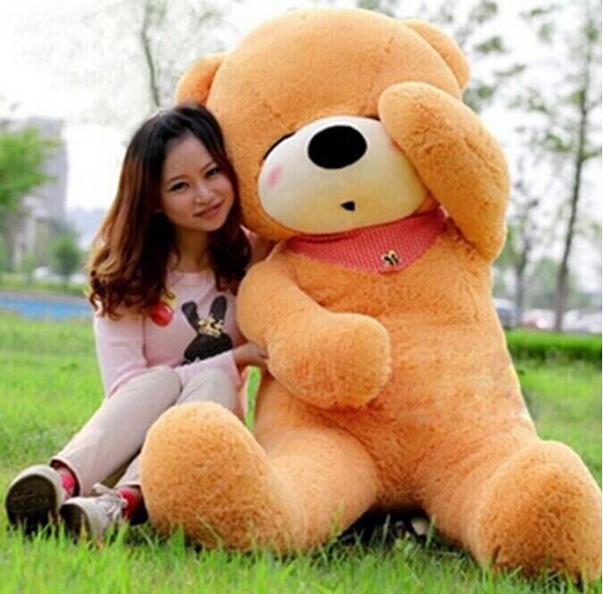 2015 New TEDDY BEAR PLUSH HUGE SOFT TOY Plush Toys Valentine's Day gift Sleepy Bear 1.6m Squinting Bear 3 colours brown(China (Mainland))