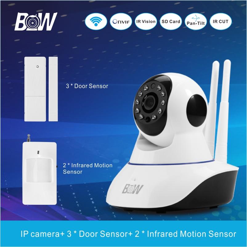 BW02D monitoring equipment SET CCTV/IP camera + 3 Door Sensor+ 2 Infrared Motion Sensor Night Vision P2P with Alarm security<br><br>Aliexpress