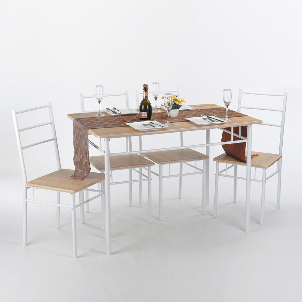 Aingoo 5Pcs Woodiness Stripe Desktop Dining Room Set Furniture Unique Design Brand High Quality Simple Style Dining Table Set(China (Mainland))