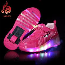 2016 Niños zapatos del Rodillo de Heelys Zapatilla Con Una Rueda Con Luz LED Intermitente Patines Kids Boy Chicas Zapatos Zapatillas Con Ruedas(China (Mainland))