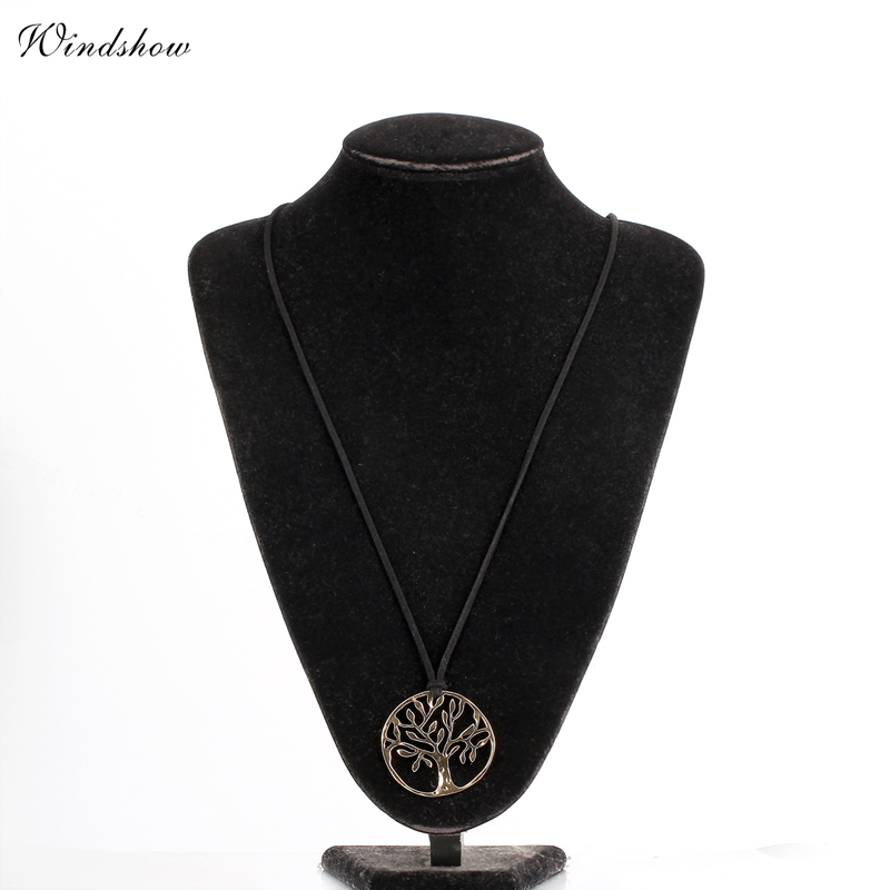 Simple Silver Cut Out Life Of Tree Round Hollow Pendant Long Black Faux Suede Leather Chain Necklace(China (Mainland))