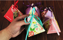 Size S  triangle bird flower candy chocolate paper gift box for wedding birthday tea party favor decoration Wh(China (Mainland))