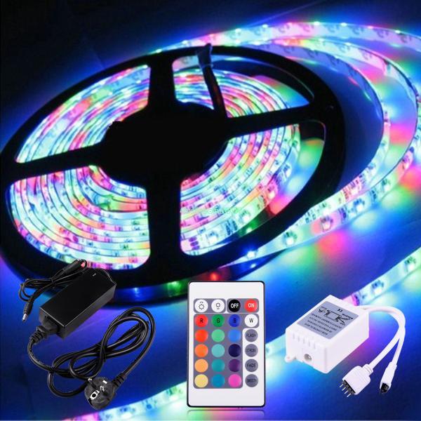 5M RGB 300 LEDS SMD 5050 LED LIGHT STRIP ROLL 6A POWER ADAPTER EU PLUG + REMOTE EB3663 Chirstmas Holiday Lighting(China (Mainland))