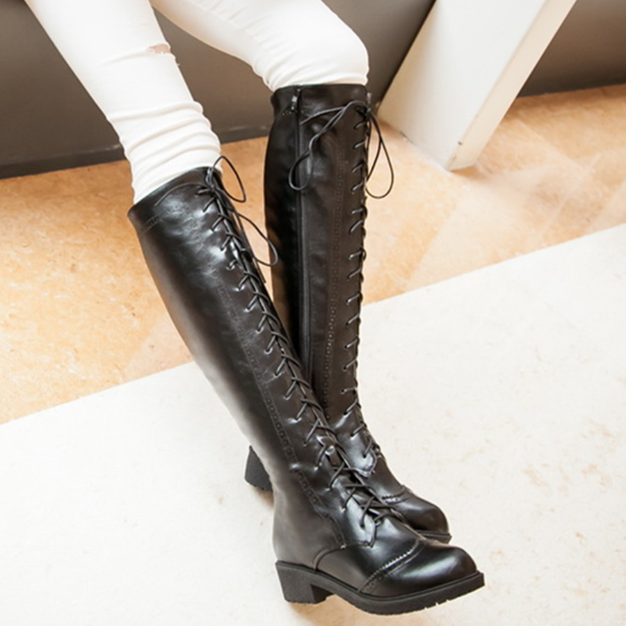 Lace Up Boots Flat Heel