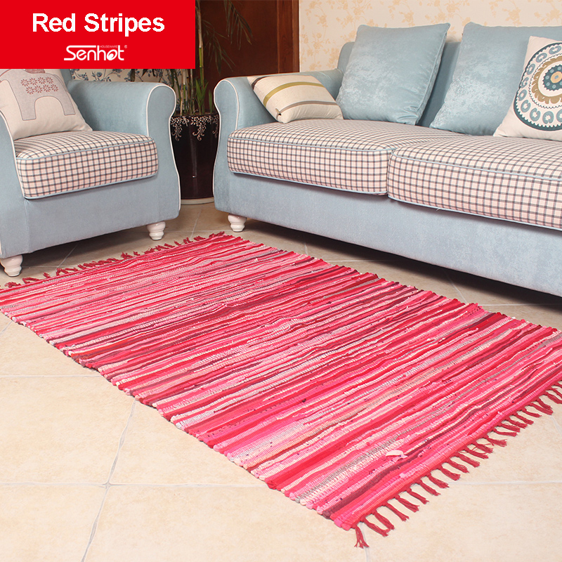 115*173cm Fringed Carpet Cloth Stripes Garden Style Mat Living Room Bedroom Rug Weaving Country style(China (Mainland))