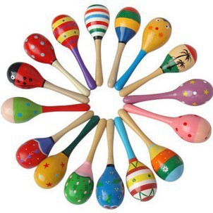 10 pieces/lot Wooden high quality Kid's colorful sand hammer rattle baby toys educational doll(China (Mainland))