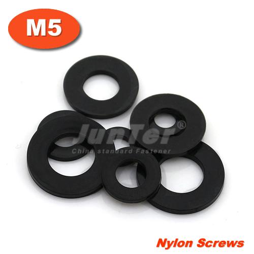 1000pcs/lot M5(ID) x 10(OD) x 1mm Thick Black Nylon Flat Washer<br><br>Aliexpress