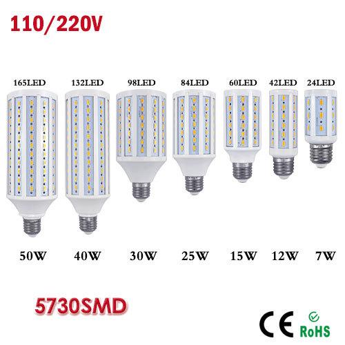 1Pcs 2015 New E27 E14 7W 12W 15W 25W 30W 40W 50W LED Corn Bulb Samsung SMD5730 110V 220V LED lamp Spotlight For light & lighting(China (Mainland))