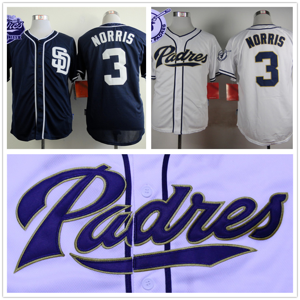 Derek Norris Jersey San Diego Padres 3# Baseball Jersey Authentic Stitched Baseball Shirt Blue White(China (Mainland))