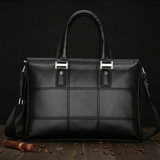 Новый 2016 мужчин Черный кожаный портфель бизнес твердого сумки офисные сумки для ...