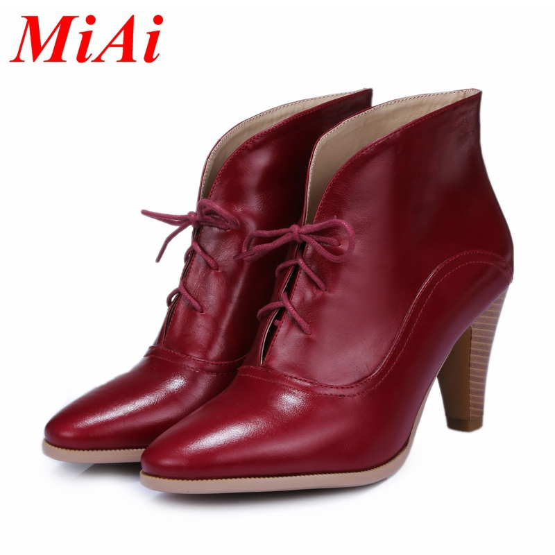 new fashion women ankle boots genuine leather pointed toe lace up casual boots women high heel ankle boots black wedding shoes(China (Mainland))