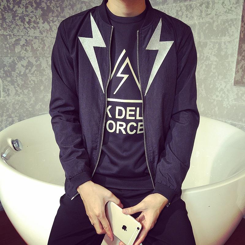 2015 New Arrival Casual Flash Print Men Jacket Slim Fashion O Neck Plus Size Coats Long