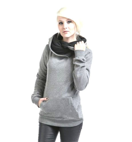 9109 Women Casual Solid Hoodies Autumn Winter Tracksuit Unisex Lapel Hooded Sweatshirts Pullovers Pockets Scarf Collar Cotton