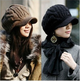 2015 New Arrival Fashion Causal Peaked Cap Women Hat Winter Caps Knitted Hats For Woman Lady's Headwear Cloth Accessory ZL138(China (Mainland))