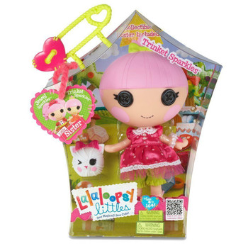 """MGA Lalaloopsy Littles 7"""" TRINKET SPARKLES with pet Kitten princess frilly NEW"""