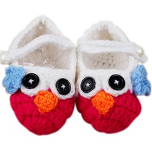 0-12M Baby Unisex Toddler Shoes Wool Booties Owl Handmade Crochet Knited Shoes(China (Mainland))