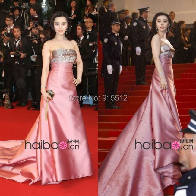 Latest Famous Stars Sexy Silver Sequins Pink Skirt Long Train With Beading Evening Gown Celebrity Dress 2014(China (Mainland))