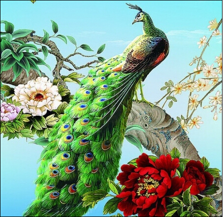 Hot Sale!! Peacock Embroidery diy diamond painting home wall pasted sticker painting full square resin home decoration BB999(China (Mainland))
