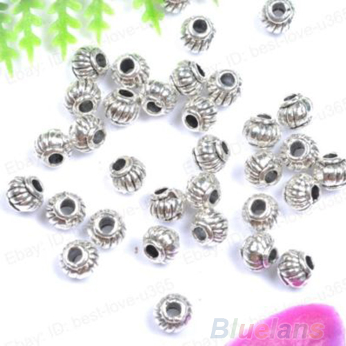 Fashion 100pcs Tibetan Silver Charms Spacer Beads Jewelry Findings Making DIY 01XP(China (Mainland))
