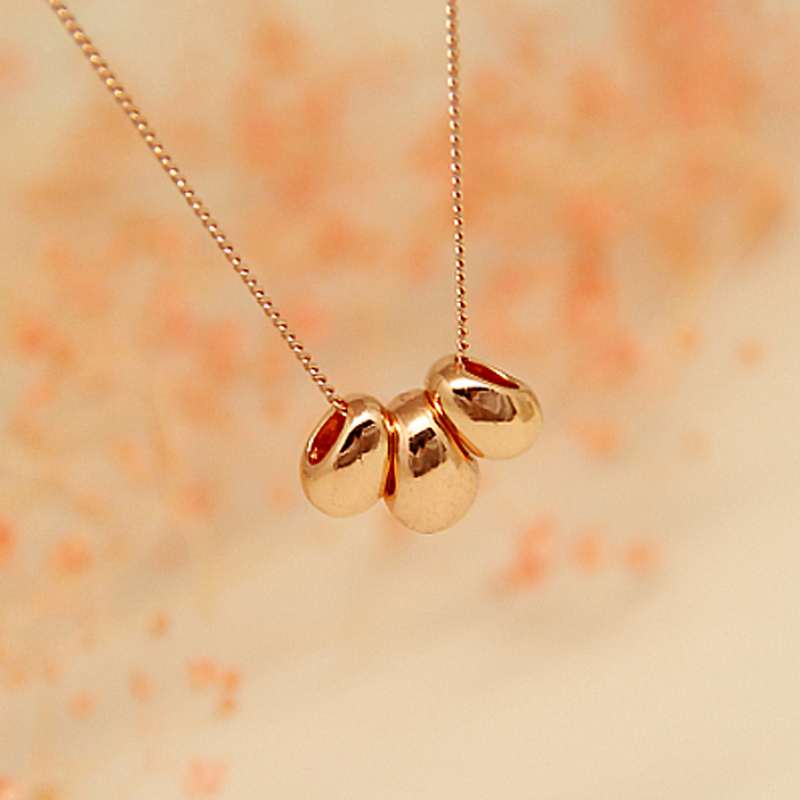 Trendy Pink Rose Gold Plated Korea Alloy Love Pea Unisex Collar Pendants Necklace Chains Women Wedding Jewelry - Hawaii Arts store