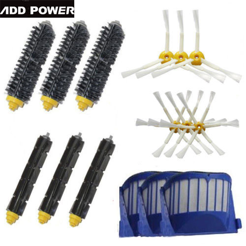 High Quality Bristle & Flexible Beater & Armed Brush Aero Vac Filters kit for iRobot Roomba 600 Series 620 630 650 660(China (Mainland))