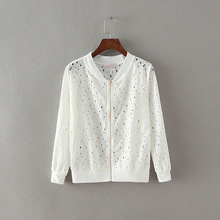 7412 Female New hollow out jacket women s cardigan openwork chaquetas mujer lace coat tops long