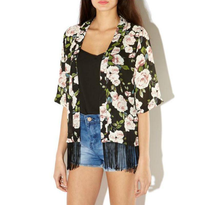 Jimshop Women Chiffon Kimono Cardigan Tassel Regular Floral Print Blouse/Mujer Ropa Camisas Femininas Wholesale Free Shipping(China (Mainland))