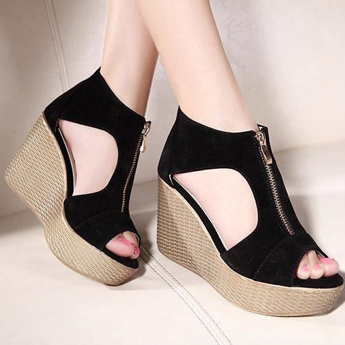 2015 new summer leather women female sandals vintage high-heeled wedges platform shoes Peep Toe sandal High heels Fish head CX31