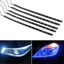 New 5 x 15LEDs 30cm Car Soft Strip Daytime Running led strip light Car Eagle Eye Fog Lamp Waterproof shakeproof B16 (China (Mainland))