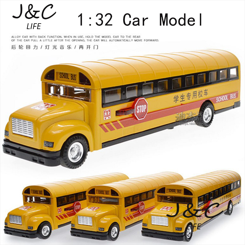 1:32 The American school bus Metal Alloy Diecast Toy Car Model Miniature Scale Model Sound and Light Emulation Electric Car(China (Mainland))