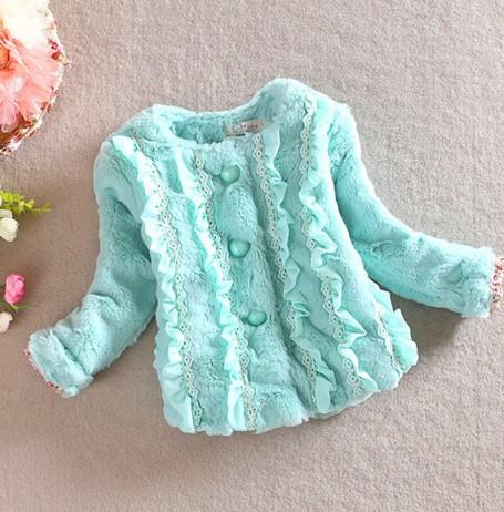 Infants Kids Girls Faux Rabbit Fur Coat Long Sleeve Outerwear Jacket 1-4Y L07(China (Mainland))