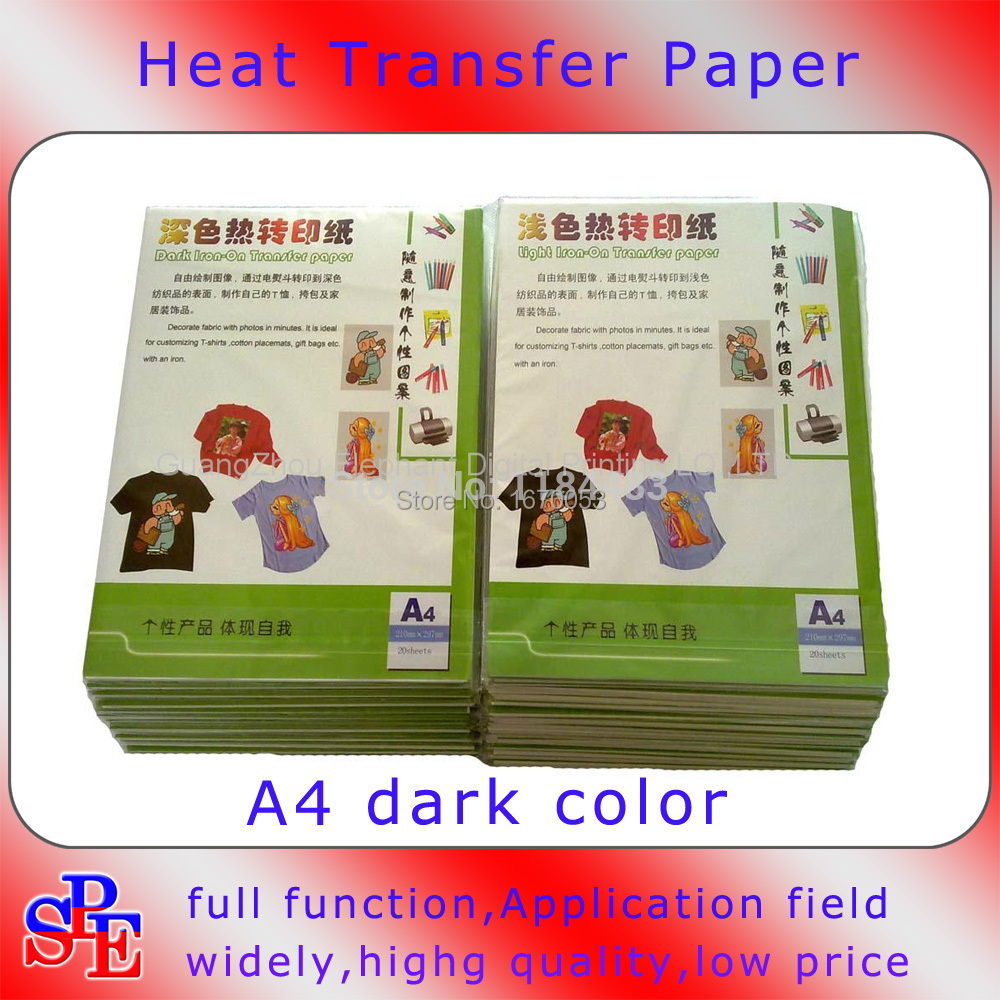 20pcs A4 Size Transfer Paper Copy Paper For Heat Press Iron On Inkjet T Shirt Heat Transfer Paper For Dark Fabric Cloth(China (Mainland))