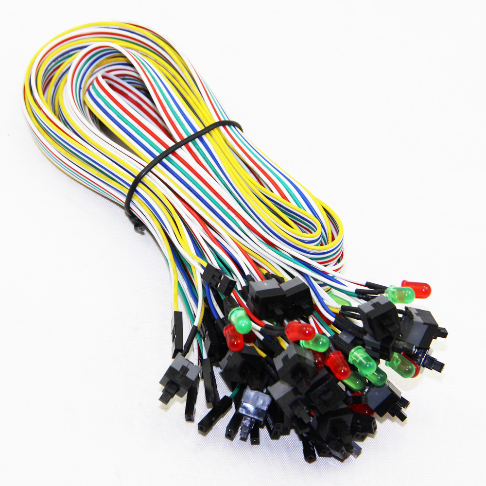 Power Switch ON OFF Reset Cable Cord Line For PC Computer Motherboard Case Line With Red+Green Light(China (Mainland))